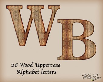 Brown Wood Uppercase Alphabet - Clip Art - 26 Letters - PNG Files - Wood Alphabet Letters - 5 Inches - Wood - Alphabet - Instant Download