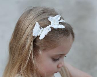 Ivory butterflies headband