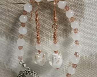 Glass Heart Copper Earring and Bracelet Set by BijoubrillianceNmore