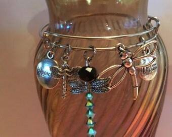 Dragonfly Charm Bangle Bracelet