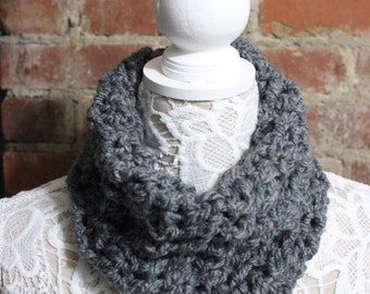Textured Cowl Neck Scarf - Grey