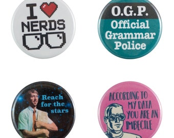 "Geeking Out 8 Pack of 1.25"" Button Pins"