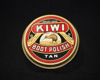 Vintage Kiwi Tan Boot Polish Tin, Coin Open Can, Empty