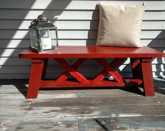 Rustic Wood Distressed Red Bench, Cottage, Cabin, 36, 24 Inches, 3