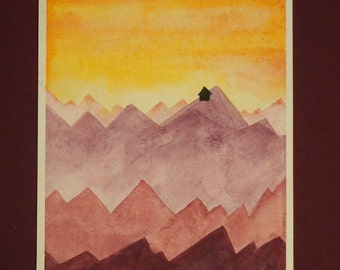 Purple Mountains at Sunset- watercolor painting