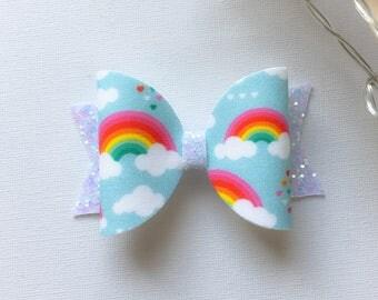 Fabric rainbow bow