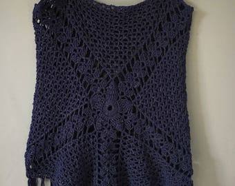 Top crochet fringed, handmade, strapless jersey, boho chic, Gypsy, Navy Blue, summer cotton