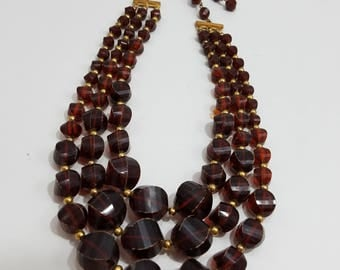 Vintage Triple Strand Plastic Bead Necklace - Unmarked