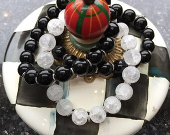 Black and White Glass Beaded Bracelet Trio; silver, jewelry