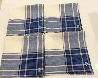 "4 Vintage Men's Handerchiefs Blue Plaid/Cream 100% Cotton Made In Japan 16"" x 16"""