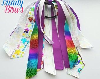 Hello My Friend - Ponytail Streamer - Pony-O - Glitter - Purple - White - Rainbow