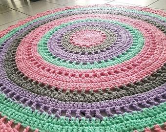 Crochet Mandala Nursery Rug 120cm Pink/Mint/Grey/Pink