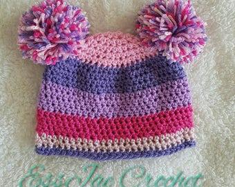 Crochet Newborn Tutti Frutti Pom Pom Beanie