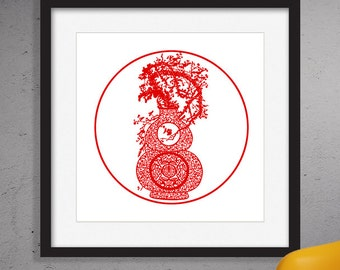 Chinese Paper Cutting,Red,Digital painting,Wall decor,Wall art,,Digital Download,InstantDownload,Opening Sale,50%Off