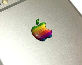 9x Apple iPhone 6/6s/Plus Rainbow logo 3d domed stickers emblems