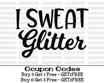 I Sweat Glitter Svg Workout Svg PNG Files Exercise Svg Files For Cricut Silhouette Cameo Files Gym Svg Fitness Svg Glitter Muscles Mascara