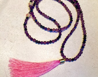 Necklace beads glass and Pompom / purple and neon pink