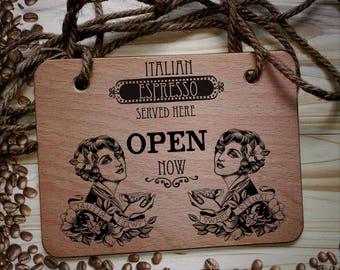 Wood print Signs plaque cafè coffee shop old school vintage retrò handmade door hanging