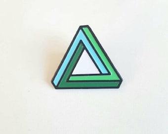 Penrose Triangle Enamel Pin / optical illusion lapel pin / Soft Enamel