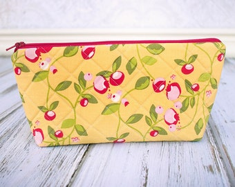 Quilted Zipper Pouch, Cosmetic Case, Make Up Bag, Yellow and Red Floral