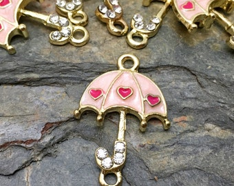 Umbrella Charms - Pink Enamel and Rhinestones - Double Loop - Gold Tone - 7 Available
