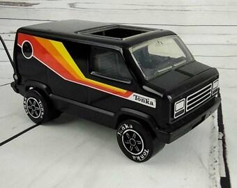 Vintage 1970s Tonka Toy Sports Van Black w/ CB Radio Antena Orange Red Yellow Metal Truck