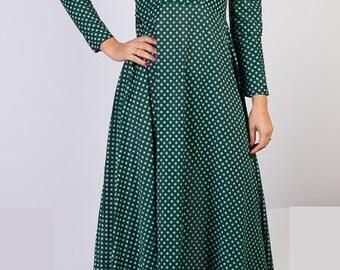 Vintage dress, Long dress, Maxi dress, Polka dot dress, Long sleeve dress, Fitted Dress,70 s dress,Dark green dress