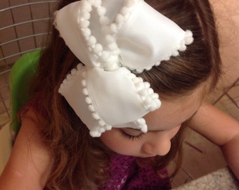 Beautiful Pompom edged hair bow. White & White. Free shipping