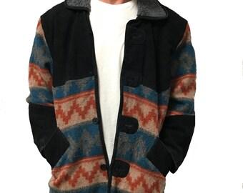 Vintage Suede Aztec Shearling Jacket Size L