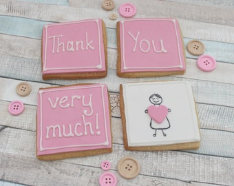 Thank you cookie gift, edible gift, teacher gift, thank you present, iced biscuits, edible treat, biscuits in a box, cookie present,