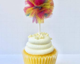 Pom Pom Cupcake Toppers Rainbow Baby Shower Gender Reveal Party Tulle Picks Cake Supplies