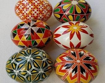 Set of 6 Real Ukrainian hand painted Pysanky Easter Eggs Ukraine Osterei Pysanka Pisanki egg shell
