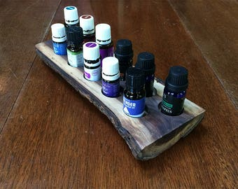 Essential oils holder for 11 vials, rustic, black walnut, live edge (#11)
