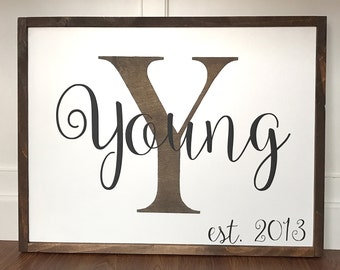Custom wood sign Family name initial wedding anniversary gift wood sign farmhouse style rustic decor wedding date stained painted