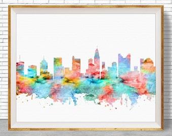 Columbus Ohio Art, Columbus Print, Columbus Skyline, Columbus Art Office Decor, Office Art, Travel Art, Watercolor City Print, ArtPrintZone
