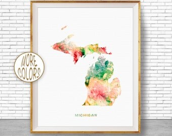 Michigan Map Art Michigan Art Print Michigan Decor Michigan Print Map Artwork Map Print Map Poster Watercolor Map Office Art ArtPrintZone