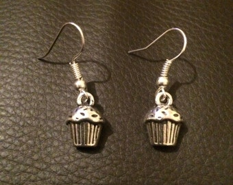 Silver Cupcake Earrings