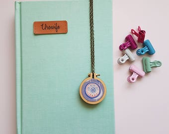 Sew With Love Mini Embroidery Hoop Necklace