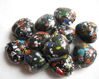 vintage black and multicolor beads