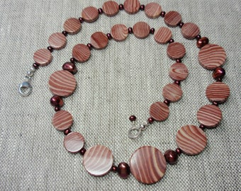 Arizona pepermint jasper and burgundy pearl necklace.