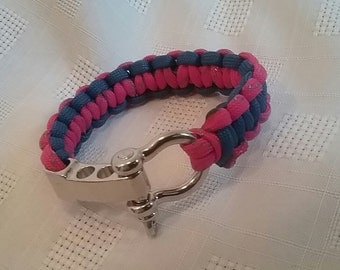 Paracord Blue and Pink Bracelet