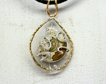 Shell Fossil Pendant on Leather