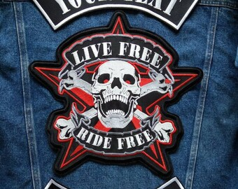 """Set custom skull patch large with rockers your text 300mm or 12""""."""