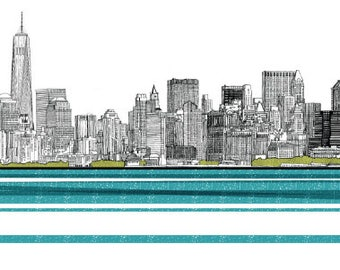 New York City Art Print Skyline Drawing