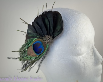 Feather Fascinator, Feather Hair Clip, Hair Clip, Steam Punk, Bride, Bridal, Prom, Peacock feather