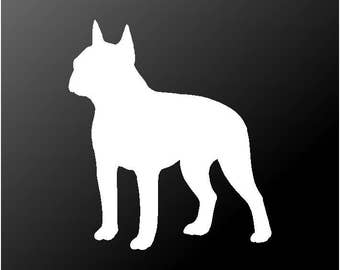 Boston Terrier Vinyl Decal Car Window Laptop Boston Bull Terrier Dog Silhouette Sticker