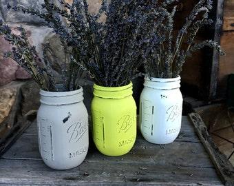 Set of 3 Distressed Mason Jar Vases