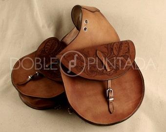 Rear round leather Western Saddle bag
