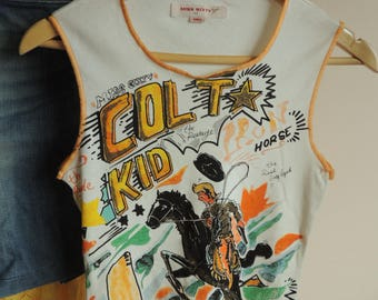FREE SHIPPING - Vintage Miss SIXTY White tank top with cowboy, colt kid, size S, Made in Italy