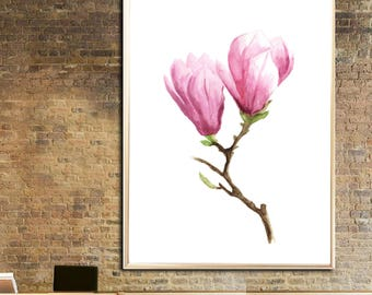Magnolia painting Magnolia art print Botanical watercolor print Magnolia wall decor Magnolia poster decor art Magnolia room decor